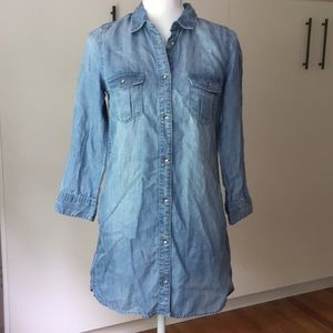 NWT H & M Sz 4 denim tunic dress pockets eco